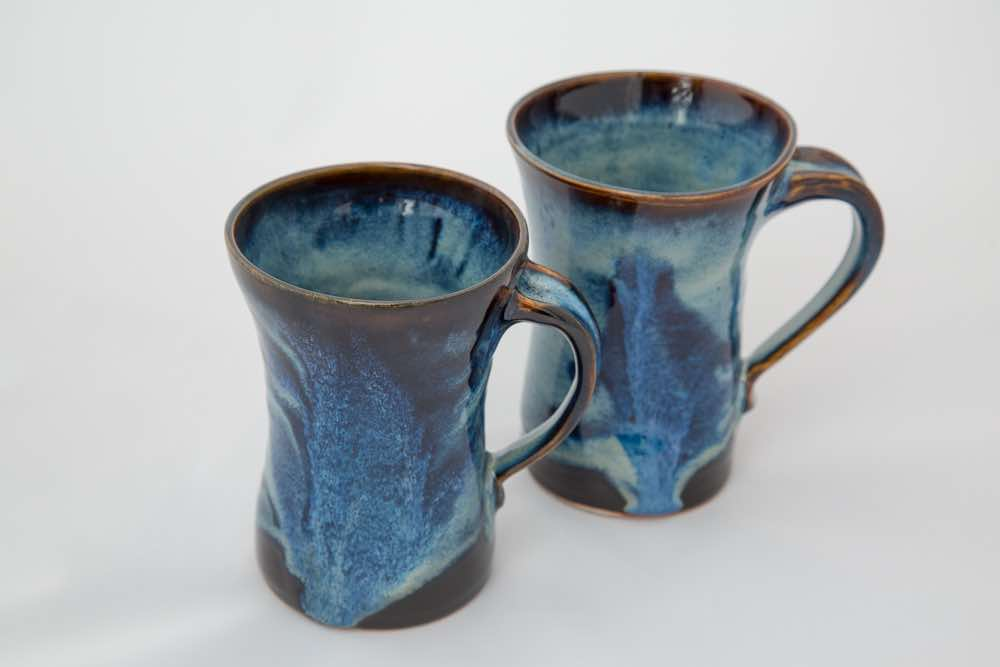 two mugs ceramic pottery